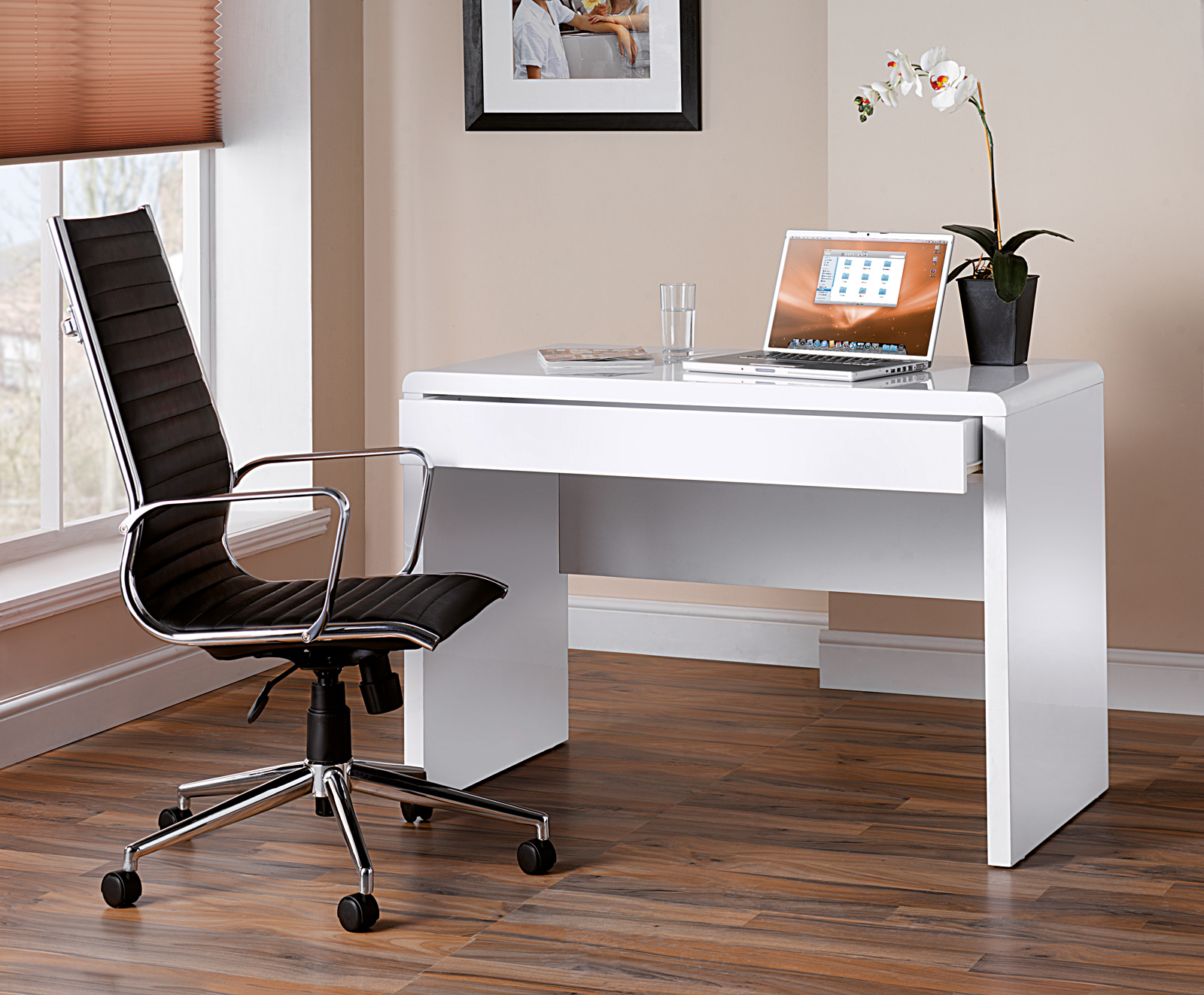 White High Gloss Home Office Desk