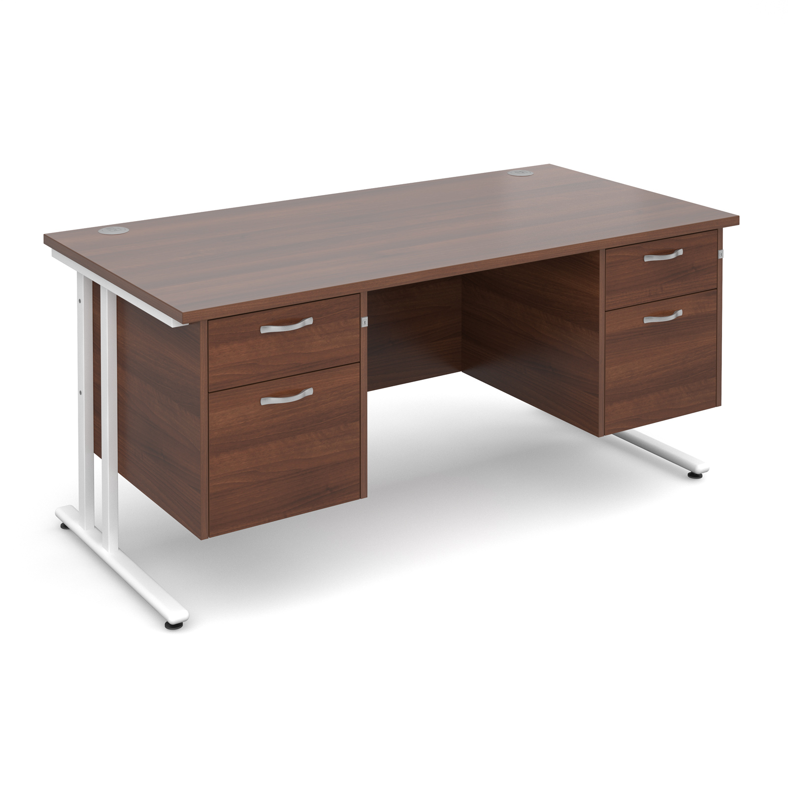 Dams Maestro 25 WL Walnut Desk | Straight Double Pedestal