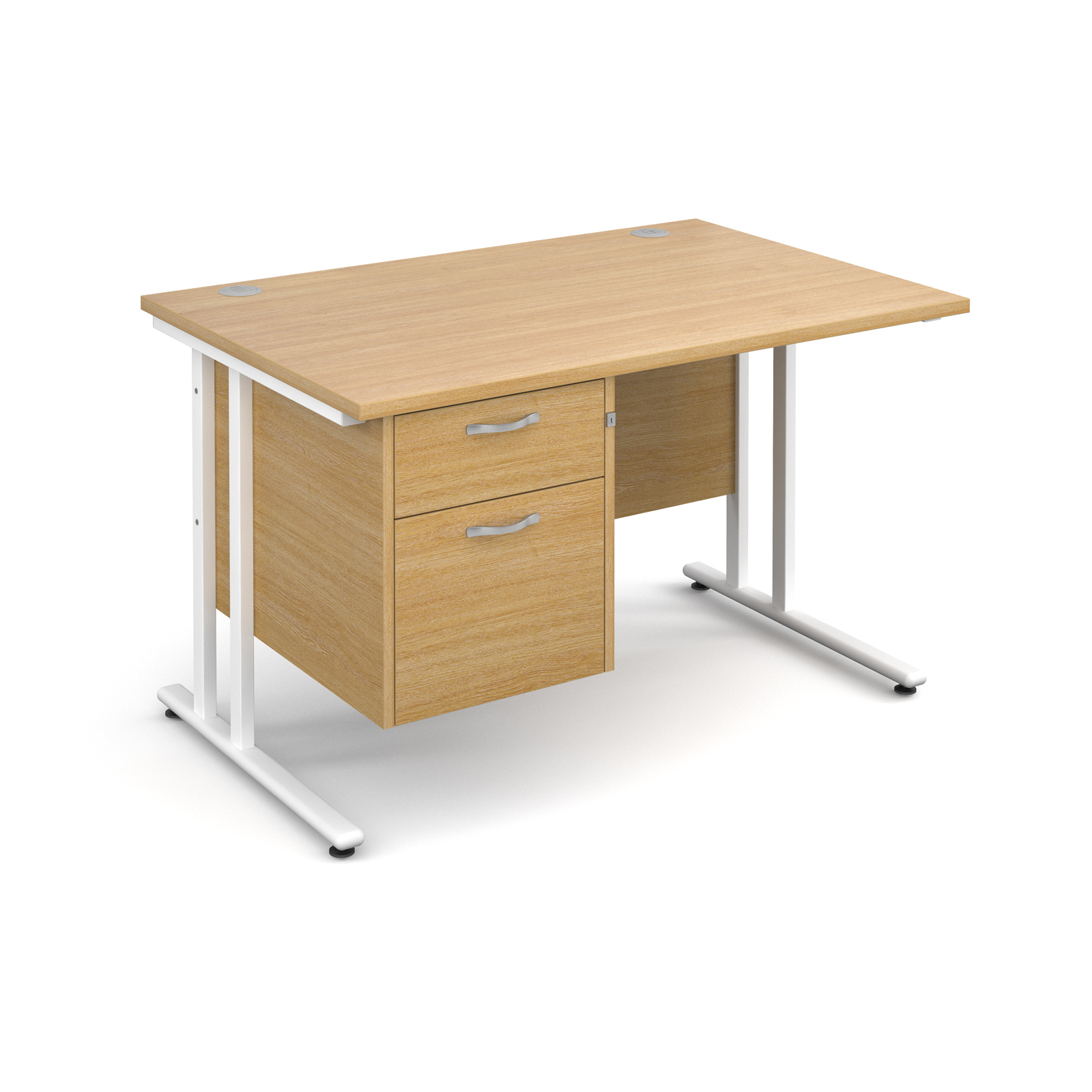 Dams Maestro 25 WL Oak Desk | Straight Single Pedestal