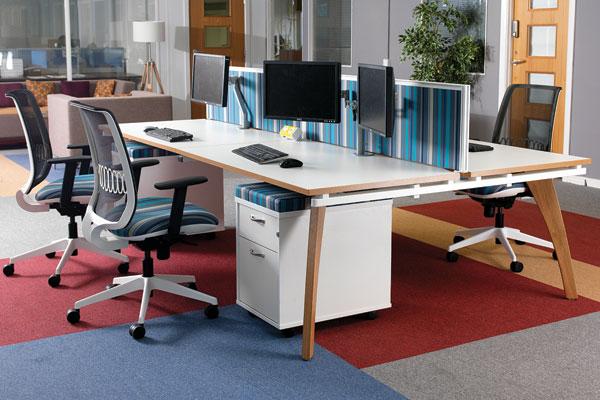 Fuze Bench Desks Solid Oak Legs