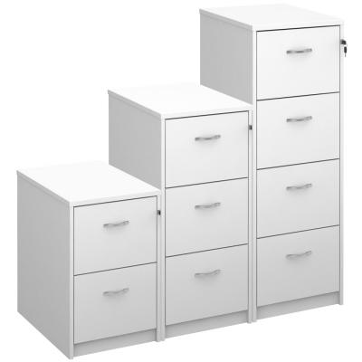 Dams Deluxe Executive White Filing Cabinet