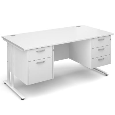 Dams Maestro 25 WL Straight Desk Double Pedestal White
