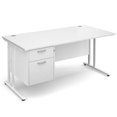 Dams Maestro 25 WL White Desk | Straight Single Pedestal