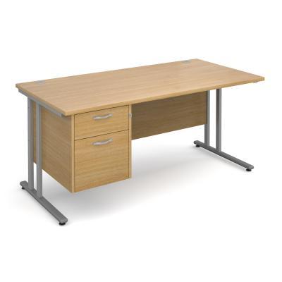 Active M25 SL Straight Desk   Single Pedestal