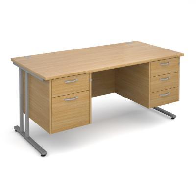 Active M25 SL Straight Desk   Double Pedestal