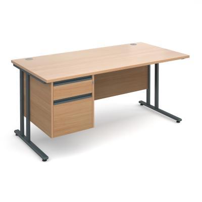 Active M25 GL Straight Desk   Single Pedestal